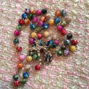 Other - NWOT Colorful Marbled Bead Rosary